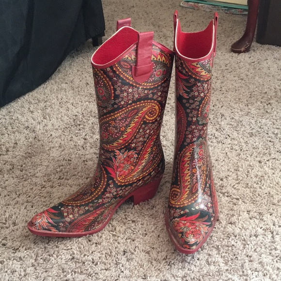dc46470fdbf Red & Paisley Cowboy Boot Style Rain Boots - 6